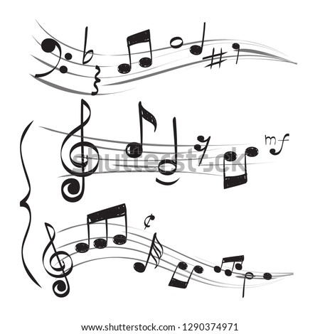Musical note. Staff treble clef notes muzician concept vector hand drawn doodle pictures