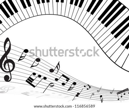 Musical note staff with lines. Vector illustration.