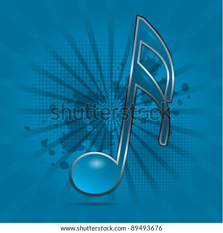 Musical note symbol blue dynamic background, vector illustration
