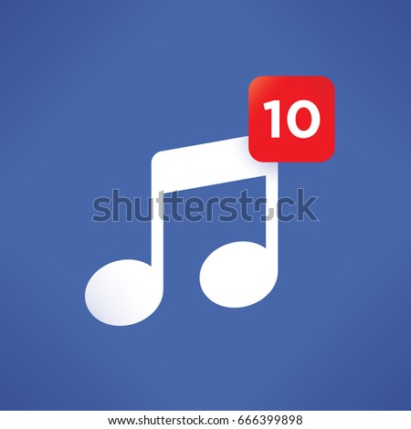 Musical note symbol with number of new audio records. Idea - Social networking, internet music sharing, online audio listening, online music selling and downloads, podcasts etc.