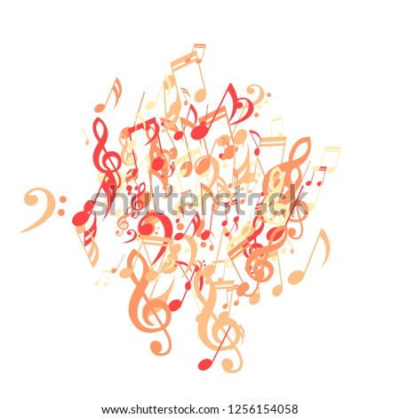 Musical Notes. Abstract Background with Notes, Bass and Treble Clefs. Vector Element for Musical Poster, Banner, Advertising, Card. Minimalistic Simple Background.