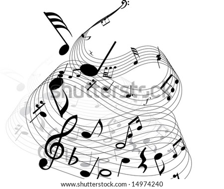 stock vector Musical notes background with lines Vector illustration