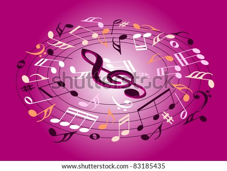 Musical notes flying on a pink background