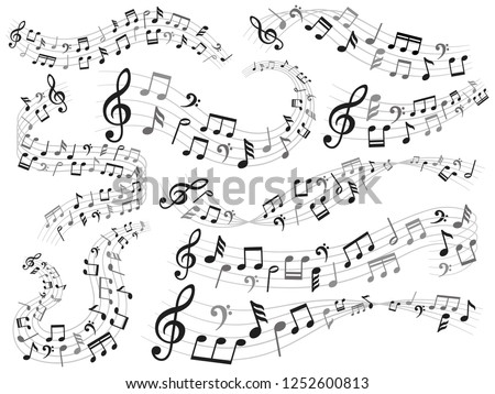 Musical notes. Music note swirl, melody pattern and sound waves with notes. Quaver musical song notes composition and treble clef isolated vector illustration symbols set