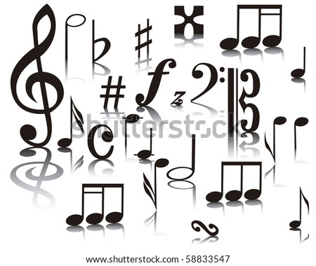 Musical notes on a white background