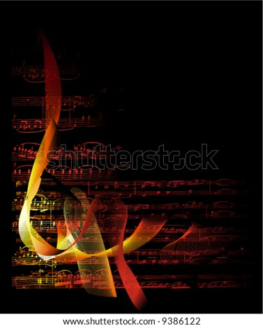 musical notes on fire