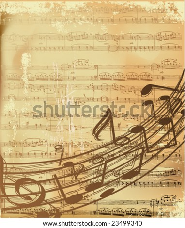 musical notes on old paper-vector illustration