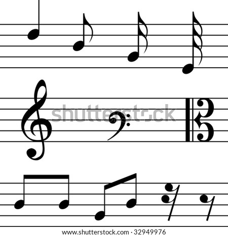 Musical notes on white background.