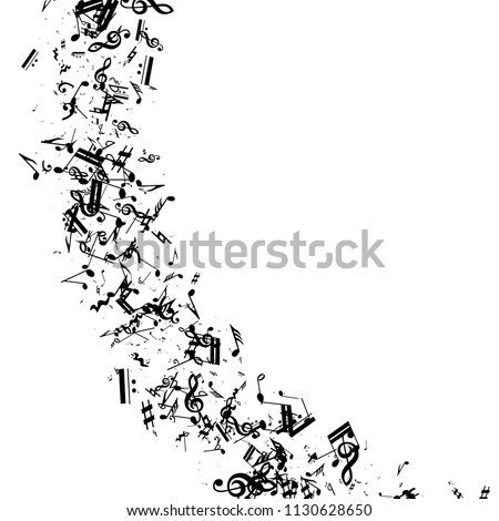 Musical Notes on White Background.  Many Random Falling Bass, Treble Clef and Notes. Vector Musical Symbols.  Jazz Background. Abstract Black and White Vector Background.