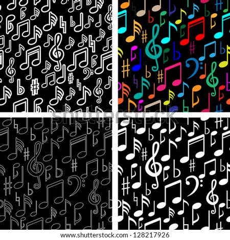 Musical Notes Seamless Pattern set - stock vector