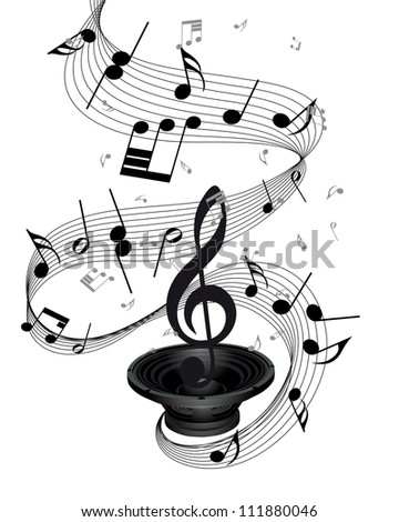 Musical notes staff background with loudspeaker. Vector illustration.
