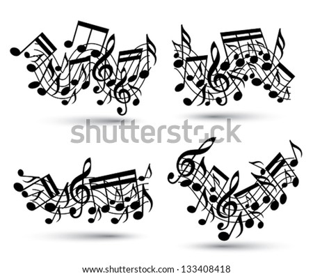 Musical Notes Staff Set. Black And White. Music Theme Vector