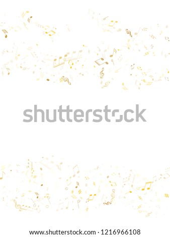Musical notes symbols flying vector background. Notation melody record elements. Pop music studio background. Gold melody sound notes signs.