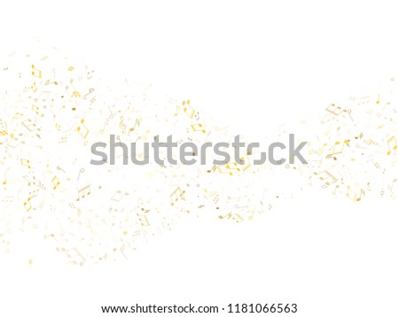 Musical notes symbols flying vector background. Notation melody record pictograms. Retro music studio background. Gold melody sound notes icons.