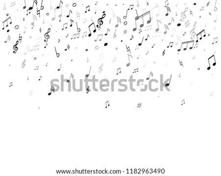 Musical notes symbols flying vector illustration. Notation melody record silhouettes. Disco music studio background. Black on white melody sound notes signs.