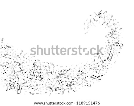 Musical notes, treble clef, flat and sharp symbols flying vector background. Notation melody record elements. Elecrtonic music studio background. Grayscale sound recording notes.