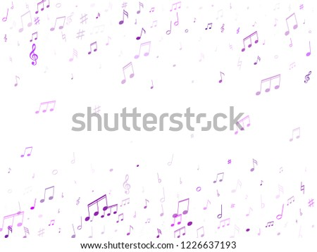 Musical notes, treble clef, flat and sharp symbols flying vector background. Notation melody record signs. Retro music studio background. Purple violet sound recording notes.
