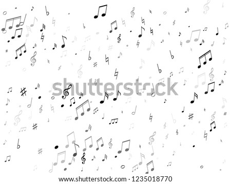 Musical notes, treble clef, flat and sharp symbols flying vector background. Notation melody record silhouettes. Concert poster backdrop. Monochrome sound recording notes.
