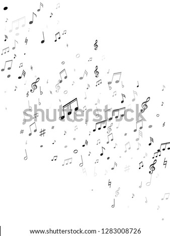 Musical notes, treble clef, flat and sharp symbols flying vector background. Notation melody record elements. Futuristic music studio background. Monochrome melody sound notation.