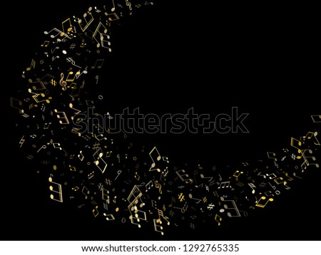 Musical notes, treble clef, flat and sharp symbols flying vector background. Notation melody record pictograms. Party banner background. Gold metallic musical note.