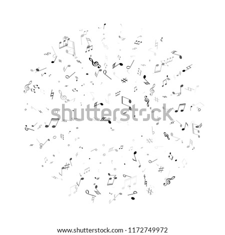 Musical notes, treble clef, flat and sharp symbols flying vector design. Notation melody record classic concept. Jazz music studio background. Black melody sound notes icons.