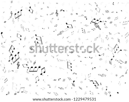 Musical notes, treble clef, flat and sharp symbols flying vector illustration. Notation melody record classic elements. Doodle music studio background. Greyscale melody sound notes.