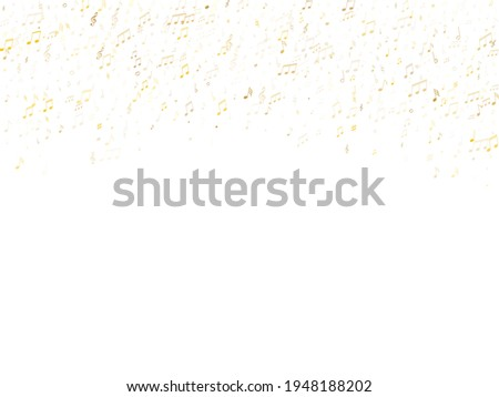 Musical notes, treble clef, flat and sharp symbols flying vector illustration. Notation melody record elements. Retro music studio background. Gold musical notation. Photo stock ©