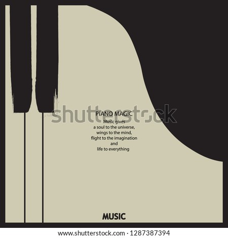 Musical poster for your design. Music elements design for card, invitation, flyer. Music background vector illustration. Music piano keyboard.