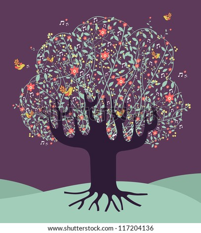 Musical spring time tree composition with flowers. Vector file layered for easy manipulation and custom coloring. - stock vector