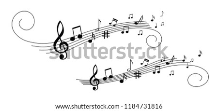 Musical symbol icon for staff and music note transparent background wave banner. Disco love heart sound notes. Fun vector sign pattern.