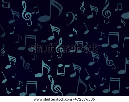 Musical Symbols Music Notes Treble Clef A Black And Blue Background Vector