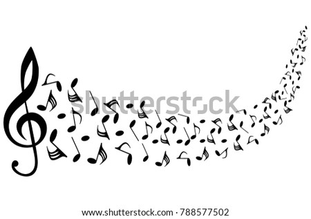 musical symbols with musical notes and treble clef, vector