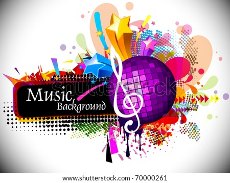 Musical theme disco background with music tunes, Editable Illustration