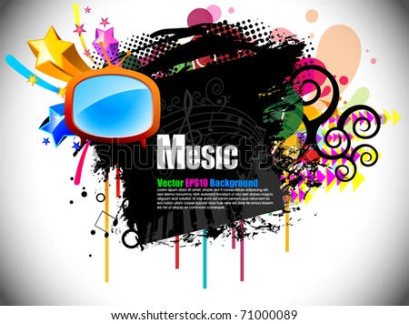 Musical theme retro tv and disco background with music tunes, Editable Illustration