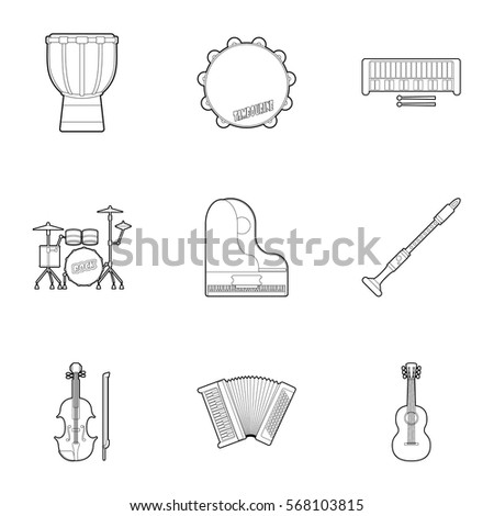 Musical tools icons set. Outline illustration of 9 musical tools vector icons for web