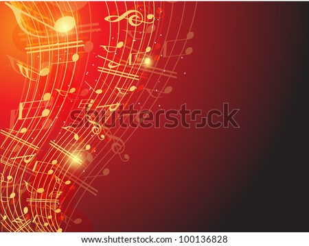Musical wave background with shiny musical notes over red color background. EPS 10. can be use as flyer, banner, poster for disco party and other events.