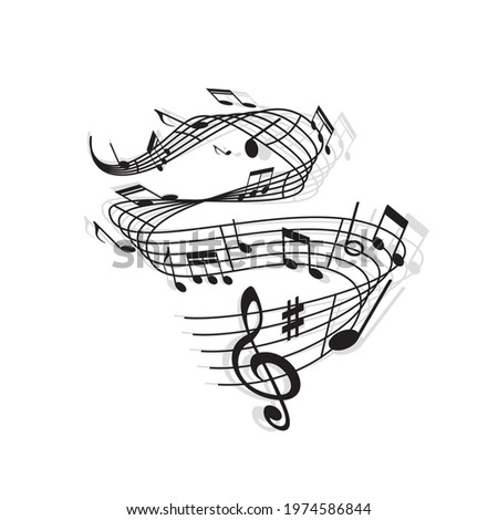 Musical wave of vector music notes, treble clef, sharp symbol and bar lines on swirling stave with shadows. Black and white sheet music or musical notation marks of melody, song or tune, music themes Photo stock ©
