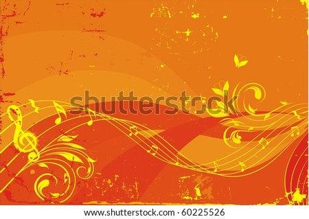 musical waves background,each element on individual layer - stock vector