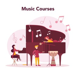 Musician and music course. Young performer playing music with professional equipment. Talented musician playing musical instrumentss. Vector illustration.