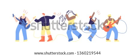 Musician People Talent Show Flat Cartoon Character Vector Illustration Man Rock Roll Band Musician Ensemble Artists Play Music Instruments Sing on Stage Concert Festival Party Marathon Live Sound