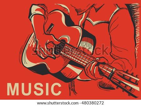musician playing guitar vector