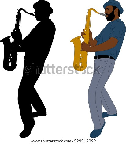 musician plays saxophone illustration and silhouette  - vector