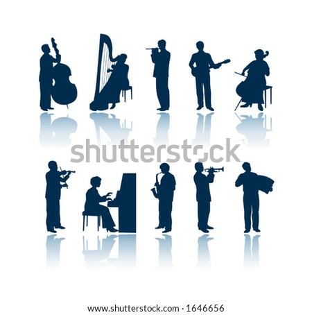 "Musician silhouettes. To see all my silhouettes, search by keywords: ""agb-svect"" or ""agb-srastr"""