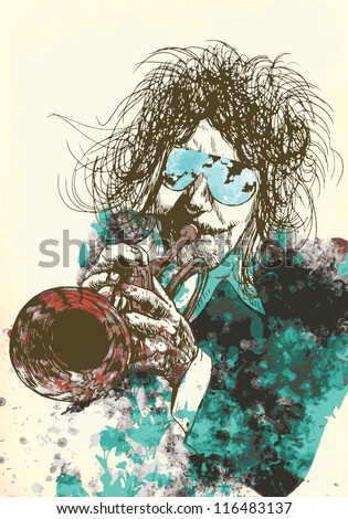 Musician: trumpet player. Vintage illustration of a music environment. Description: Editable in several layers (at least three layers). Number of colors in each layer: no more than six.