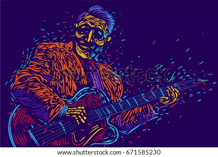 Musician with a guitar  guitarist guitar player abstract vector illustration with large strokes of paint