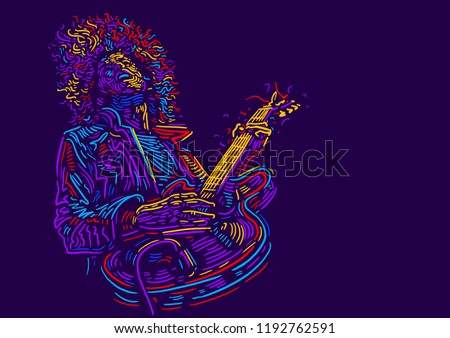 Musician with a guitar. Rock guitarist guitar player abstract vector illustration with large strokes of paint