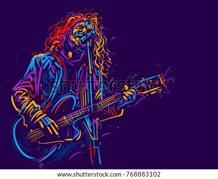 Musician with a guitar. Rock guitarist guitar player abstract vector illustration with large strokes of paint  - Shutterstock ID 768883102
