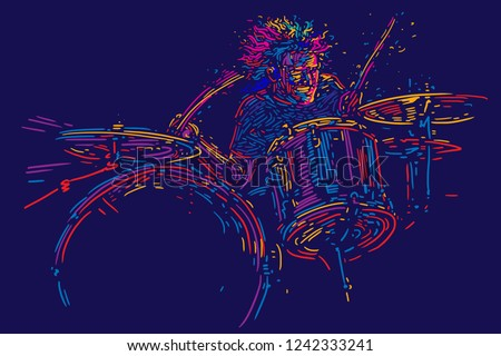 Musician with drums. Rock drummer  player abstract vector illustration with large strokes of paint. Music poster