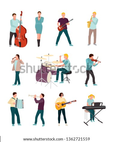 Musicians and singers vector characters set. Cartoon man, woman. Music and singing art. Cello, guitar, drums, synthesiser. Orchestra, rock band, soloist, jazz players with musical instruments Сток-фото ©