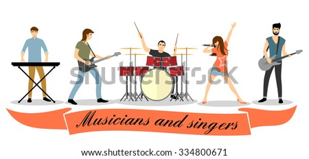 musicians and singers vector